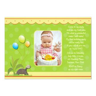 Invitación de la foto de la tortuga del cumpleaños invitación 12,7 x 17,8 cm