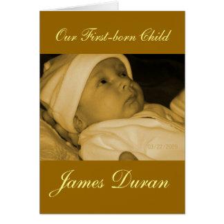 Invitación de la foto del bebé del primogénito tarjeta de felicitación