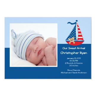 Invitación de la foto del bebé del VELERO Invitación 12,7 X 17,8 Cm
