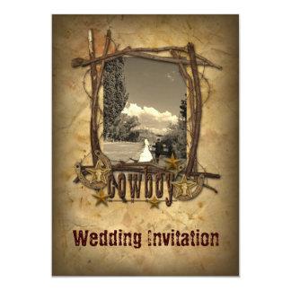 invitación de la foto del boda del vaquero del