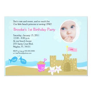 Invitación de la FOTO del castillo 5x7 de la arena