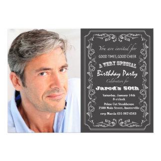Invitación de la foto del cumpleaños de la pizarra