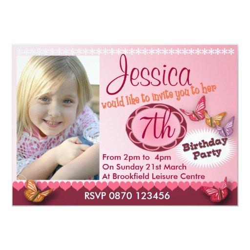 Invitación de la foto del cumpleaños de los chicas