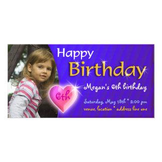 Invitación de la foto del cumpleaños de Megan Tarjetas Fotográficas Personalizadas