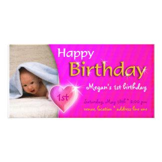 Invitación de la foto del cumpleaños del corazón tarjetas personales
