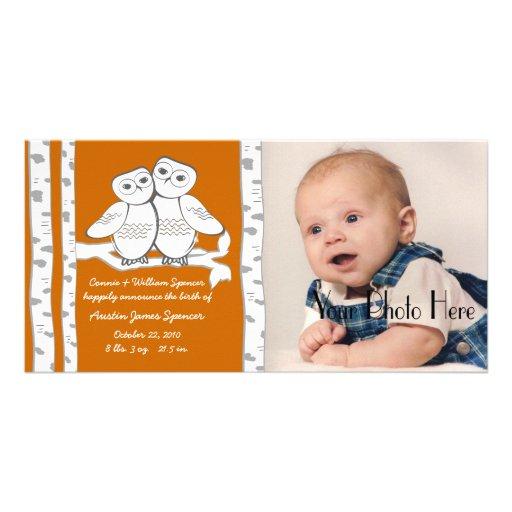 Invitación de la foto del nacimiento de los búhos  tarjetas personales