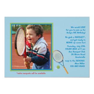 Invitación de la foto del tenis invitación 12,7 x 17,8 cm