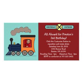 Invitación de la foto del tren del cumpleaños - ro tarjeta fotografica personalizada