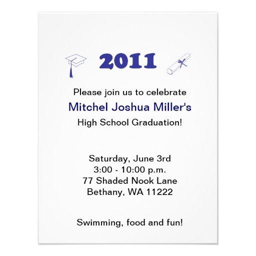 Invitación de la graduación - azul simple