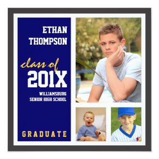 Invitación de la graduación con oro del azul de 3