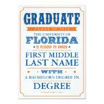 Invitación de la graduación de la Florida Invitación 12,7 X 17,8 Cm