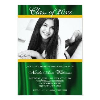 Invitación de la graduación de la foto del satén