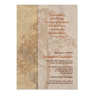 Invitación de la graduación de la sombra del árbol invitación 12,7 x 17,8 cm