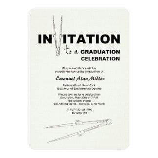 Invitación de la graduación del compás de dibujo