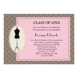 Invitación de la graduación del diseño de la moda invitación 12,7 x 17,8 cm