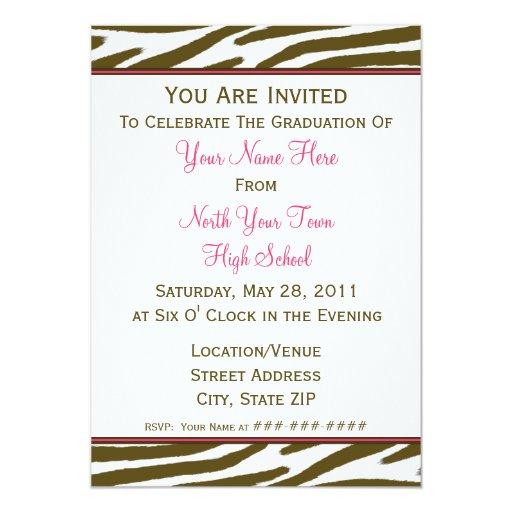 Invitación de la graduación del estampado de zebra