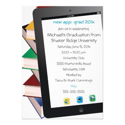 Invitación de la graduación del graduado de la tab