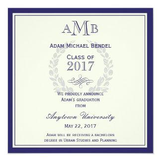 Invitación de la graduación del monograma del azul