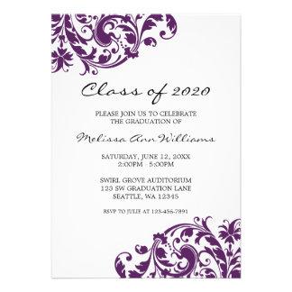 Invitación de la graduación del remolino de la púr