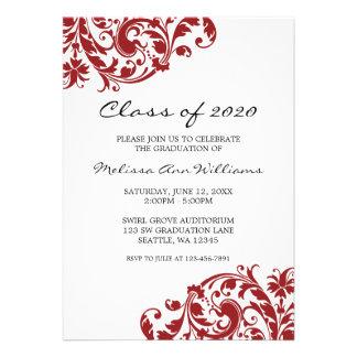 Invitación de la graduación del remolino del rojo