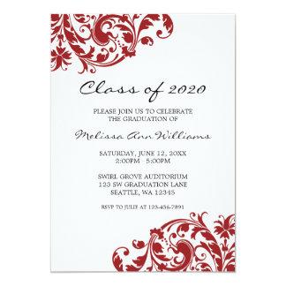Invitación de la graduación del remolino del rojo invitación 12,7 x 17,8 cm