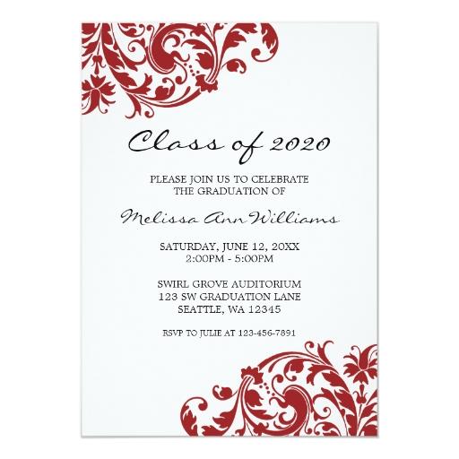 Invitación de la graduación del remolino del rojo invitación 12,7 ...