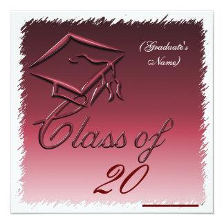 Invitación de la graduación, invitación Borgoña Invitación 13,3 Cm X 13,3cm