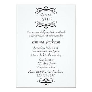 Invitación de la graduación/invitación negras y invitación 12,7 x 17,8 cm