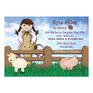 Invitación de la granja de la vaquera