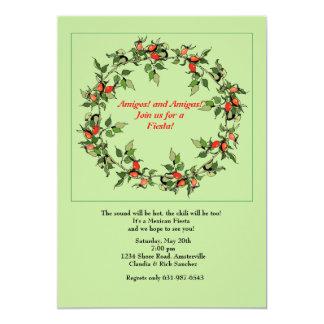 Invitación de la guirnalda de los pimientos invitación 12,7 x 17,8 cm