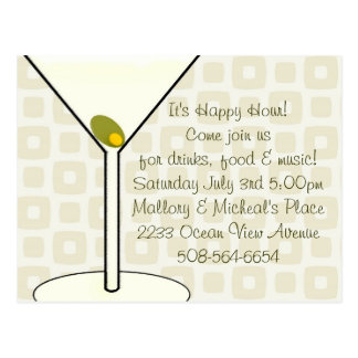 Invitación de la hora feliz tarjetas postales