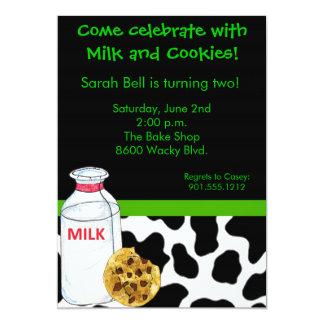Invitación de la leche y de las galletas