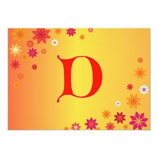 Invitación de la letra D Invitación 12,7 X 17,8 Cm