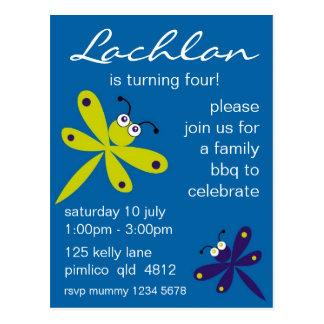 Invitación de la libélula [azul] postal