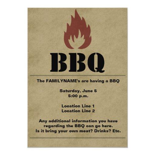 Invitación de la llama del Bbq