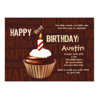Invitación de la magdalena del feliz cumpleaños invitación 12,7 x 17,8 cm