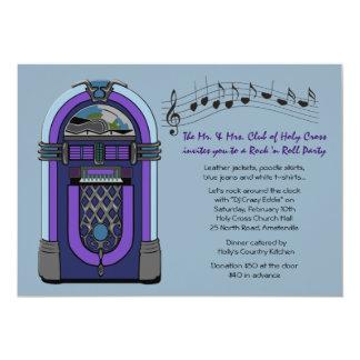 Invitación de la máquina tocadiscos invitación 12,7 x 17,8 cm