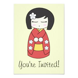 Invitación de la muñeca de Kokeshi Invitación 12,7 X 17,8 Cm