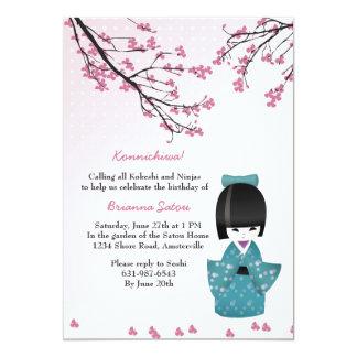 Invitación de la muñeca de Kokeshi