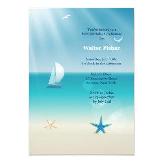 Invitación de la navegación del verano invitación 12,7 x 17,8 cm