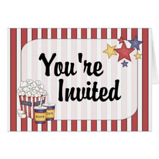 Invitación de la noche de película tarjeta de felicitación