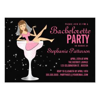 Invitación de la novia del cóctel del rosa del fie