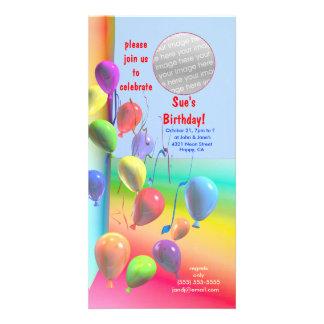 Invitación de la pared del globo de la fiesta de c tarjetas con fotos personalizadas