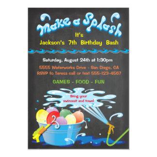 Invitación de la piscina del cumpleaños del globo