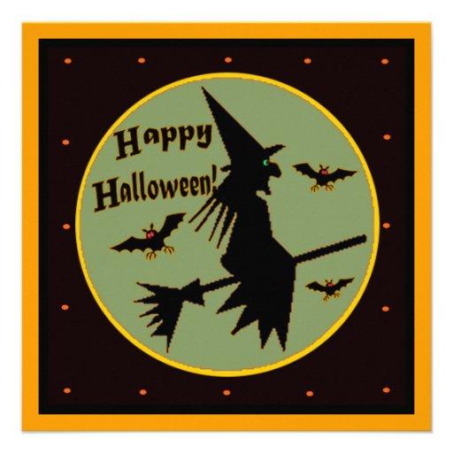 Invitación de la plantilla de la bruja de Hallowee