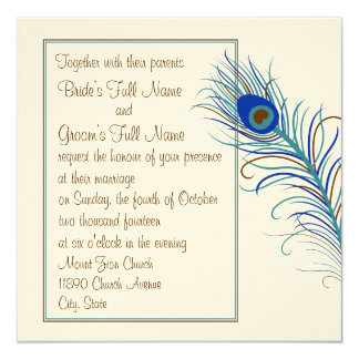 Invitación de la pluma 2 del pavo real (cuadrado)