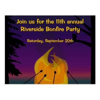 Invitación de la postal del fiesta de la hoguera