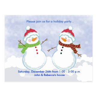 Invitación de la postal del muñeco de nieve de la