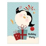 Invitación de la postal del pingüino del navidad