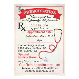 Invitación de la prescripción de la graduación de invitación 12,7 x 17,8 cm